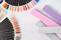 Professional cosmetic accessories for manicure. Swatch palettes royalty free stock photography