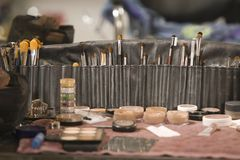Professional cosmetics brushes on dressing table Royalty Free Stock Photography