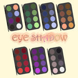 Professional cosmetics. eye shadow powder set. Different color demonstration cosmetics accessory. Eye makeup. Vector Royalty Free Stock Photo