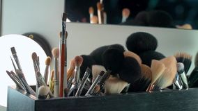 Professional cosmetics makeup brushes kit in motion stock video