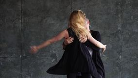 Professional couple of dancers studio. Brazilian zouk. Slow-motion stock video
