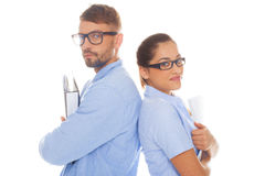 Professional couple holding documents Royalty Free Stock Photography