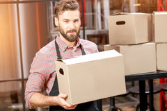 Professional courier with boxes. Portrait of professional courier with boxes delivering packages at the manufacturing royalty free stock photography