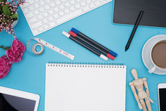 Professional creative graphic designer desk Stock Images