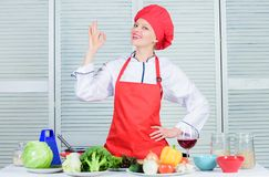 Professional culinary tips. Culinary show concept. Woman pretty chef wear hat and apron. Delicious and easy recipes. Best culinary recipes to try at home. Lady stock photos