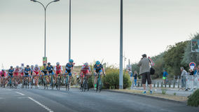Professional cycling peloton during a night race Stock Photography