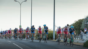 Professional cycling peloton during a night race Royalty Free Stock Photo