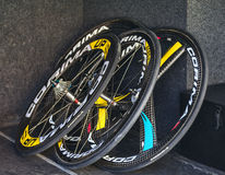 Professional Cycling Wheels stock images