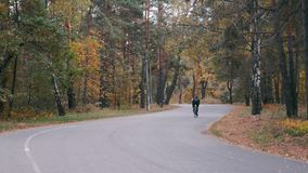 Professional cyclist in black helmet and cycling apparel is intensive training on road bike in fall city park. Male young athlete. Riding on bicycle in autumn stock video footage