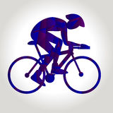 Professional cyclist involved in a bike race. Polygonal low poly Royalty Free Stock Photography