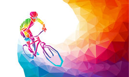 Professional cyclist involved in a bike race. Polygonal low poly Stock Photos