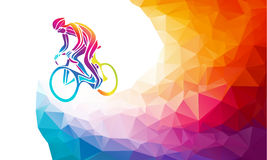 Professional cyclist involved in a bike race. Polygonal low poly Royalty Free Stock Photo