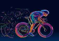 Professional cyclist involved in a bike race. Vector artwork in the style of paint strokes Stock Photo