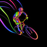 Professional cyclist involved in a bike race. Vector artwork in the style of paint strokes. Vector illustration Royalty Free Stock Images