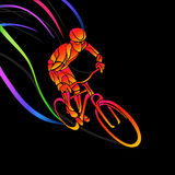 Professional cyclist involved in a bike race. Vector artwork in the style of paint strokes. Vector illustration Royalty Free Stock Photography