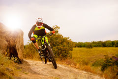 Professional Cyclist Riding the Bike at the Rocky Trail. Extreme Sport Concept. Space for Text. Stock Images