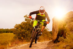 Professional Cyclist Riding the Bike at the Rocky Trail. Extreme Sport Concept. Space for Text. Royalty Free Stock Photos