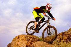 Professional Cyclist Riding the Bike on the Top of the Rock. Extreme Sport Concept. Space for Text. Royalty Free Stock Photo