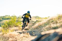 Cyclist Riding the Mountain Bike on the Summer Rocky Trail at the Evening. Extreme Sport and Enduro Cycling Concept. Royalty Free Stock Image