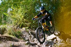 Professional Cyclist Riding the Mountain Bike on Autumn Forest Trail. Extreme Sport and Enduro Cycling Concept. royalty free stock photo