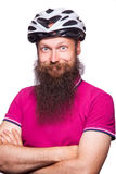 Professional cyclists wear a helmet for his safety. Stock Photos