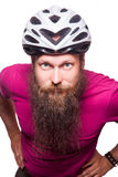 Professional cyclists wear a helmet for his safety. Stock Photography