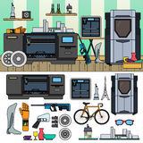 Professional 3D printing. 3D equipment and goods in the room. Modern technology concept. Bicycle, 3D printer, goods  on white background Royalty Free Stock Photo