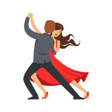 Professional dancer couple dancing latino colorful character vector Illustration. Isolated on a white background Royalty Free Stock Image