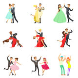 Professional Dancer Couple Dancing Tango, Waltz And Other Dances On Dancing Contest Dancefloor Collection. Cartoon Characters Having Good time In Club Or On Royalty Free Stock Images