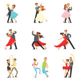 Professional Dancer Couple Dancing Tango, Waltz And Other Dances On Dancing Contest Dancefloor Set. Cartoon Characters Having Good time In Club Or On Stock Photography