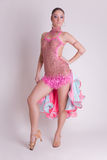 Professional dancer girl in pink dress Stock Photography