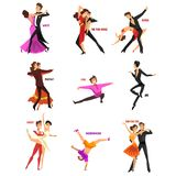 Professional dancer people dancing, young man and woman dressed in elegant clothing performing dances vector. Illustrations isolated on a white background Stock Image