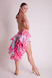 Professional dancer in pink dress Stock Photography