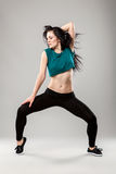 Professional dancer. In studio on grey background stock image