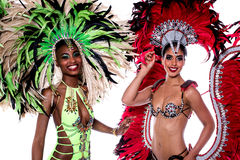 We are the professional dancers. Closeup of women dancers with decorated feathers Royalty Free Stock Photo