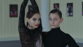 Professional dancers dancing in ballroom. Latin. Slow motion stock footage