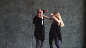 Professional dancers dancing in the studio. Slow-motion. latin dance. hispanic dancer stock video