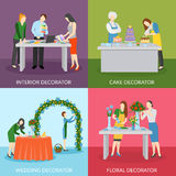 Professional Decorators Flat Icons Square Composition Royalty Free Stock Photo