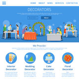 Professional Decorators One Page Flat Design Royalty Free Stock Image