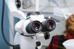 Professional dental endodontic binocular microscope Stock Images