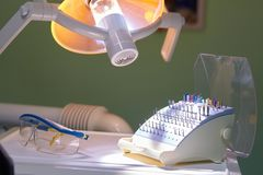 Professional Dentist tools in the dental office. stock images