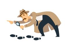 Professional detective with mustaches and magnifier follows footprints. Professional detective in beige coat and hat with thick mustaches and magnifier follows Stock Images