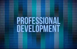 Professional development concept binary. Illustration design blue background Royalty Free Stock Photos