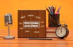 Professional development concept with stationery items background.  stock image