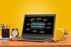Professional development on a laptop with saturated background stock photos