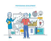 Professional development. Professional qualities, modernization individual and ethics, improvement skills. Professional development. Professional qualities vector illustration