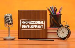 Professional development theme, Stationery items and microphone stock photos