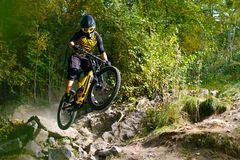 Professional Cyclist Riding the Mountain Bike on Autumn Forest Trail. Extreme Sport and Enduro Cycling Concept. stock photos