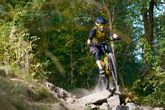Professional Cyclist Riding the Mountain Bike on Autumn Forest Trail. Extreme Sport and Enduro Cycling Concept. royalty free stock photography