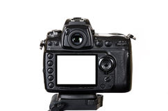 Professional digital camera with blank screen isolated on white background Stock Photography